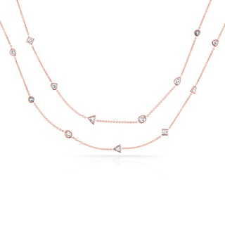 Annello 18k Rose Gold Mixed Cut 5 3/5ct TDW Diamond by the Yard Station Necklace (G-H, VS-SI)