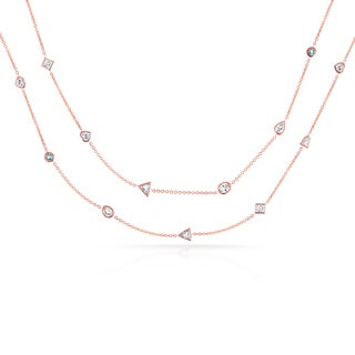 Annello by Kobelli 18k Rose Gold Mixed Cut 5 3/5ct TDW Diamond by the Yard Station Necklace
