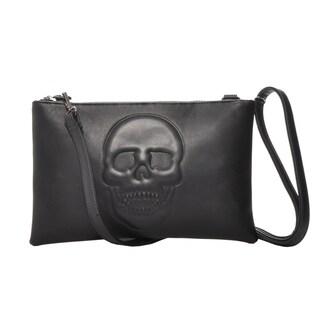 Mechaly Women's Skully Black Vegan Leather Skull Crossbody Handbag