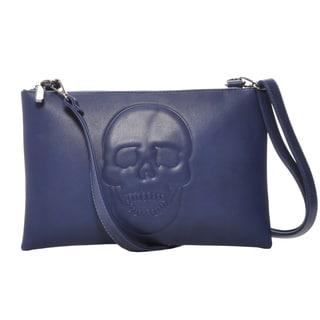 Mechaly Women's Skully Blue Vegan Leather Skull Crossbody Handbag