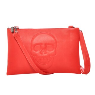 Mechaly Women's Skully Red Vegan Leather Skull Crossbody Handbag