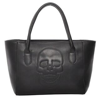 Mechaly Women's Skully Black Vegan Leather Skull Tote Handbag