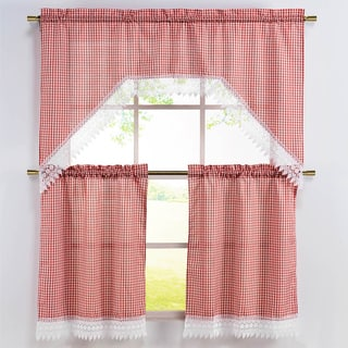 Classic Gingham Check 3-piece Embroidered Swag Valance and Tiers with White Lace Trim Kitchen Curtain Set