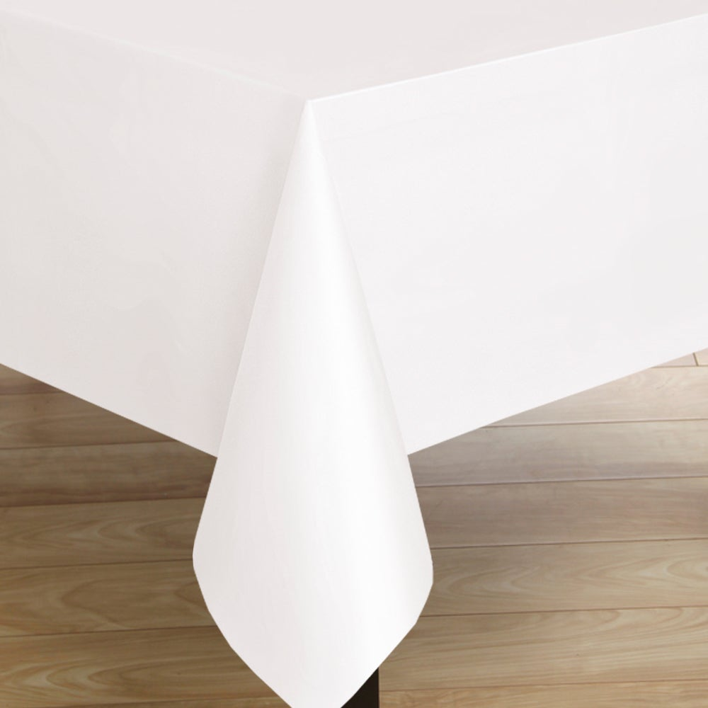 Captivating Premium Quality Square White Flannelback Vinyl Tablecloth.