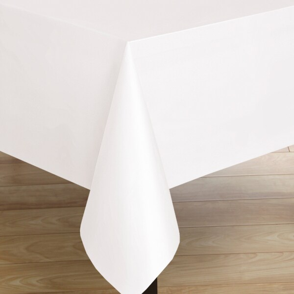 Premium Quality Square White Flannelback Vinyl Tablecloth
