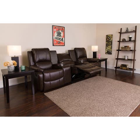 """3-Seat Reclining Pillow Back LeatherSoft Theater Seating Unit-Cup Holders - 96""""W x 35"""" - 66""""D x 40""""H"""