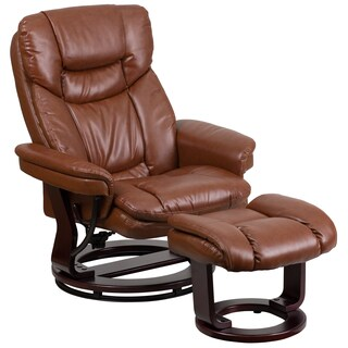 Leather Recliner with Ottoman (Option: Brown)