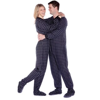 Black and White Plaid Flannel Unisex Adult One Piece Footed Pajamas by Big Feet Pajamas (4 options available)