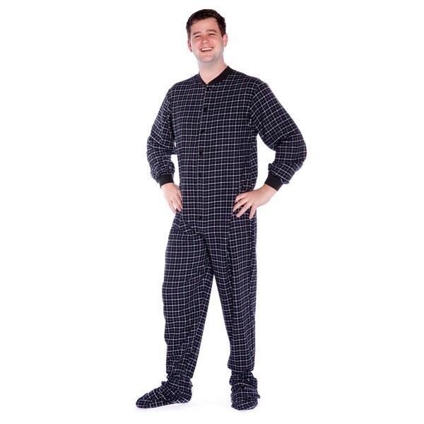 Big Feet Pajama Company Unisex Black and White Plaid ...