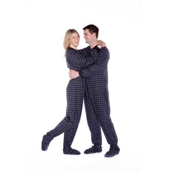 Black & White Plaid 100% Cotton Flannel Adult Footed Pajamas No Drop seat Sleeper