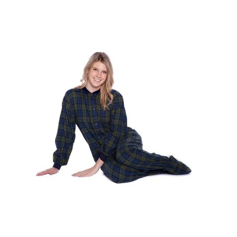 Navy Blue & Green Plaid Cotton Flannel Adult Footed Pajamas Sleeper Sleeper