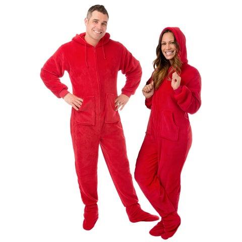 Red Plush Unisex Adult Hoodie Footed Pajamas