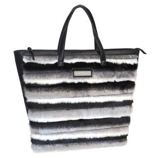 Adrienne Landau Faux Fur Striped Shopper Tote Handbag