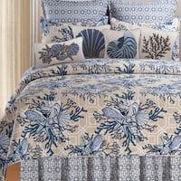 Indigo Sound Cotton Coastal Quilt (Shams Not Included)