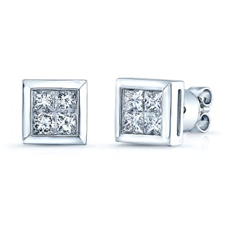14k White Gold 1 1/5ct TDW Princess-cut Invisible-set Diamond Square Earrings (H-I, VS1-VS2)
