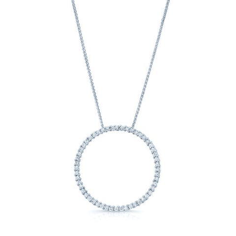 18k White Gold 5/8ct TDW Diamond Circle Pendant