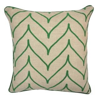 Foglia Linen Green 22-inch Throw Pillow