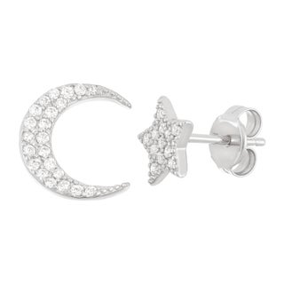 La Preciosa Sterling Silver CZ Single Star & Single Moon Stud Earrings