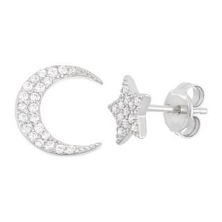 La Preciosa Sterling Silver CZ Single Star & Single Moon Stud Earrings