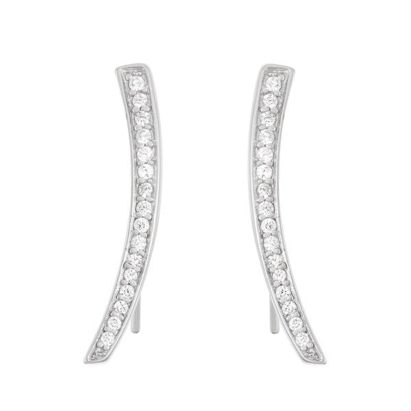 91d4e661eb190 Shop La Preciosa Sterling Silver Cubic Zirconia Curved Bar Ear ...