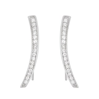La Preciosa Sterling Silver Cubic Zirconia Curved Bar Ear Climber Earrings