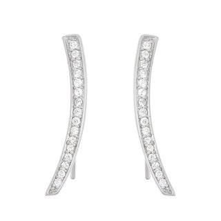 La Preciosa Sterling Silver Cubic Zirconia Curved Bar Ear Climber Earrings