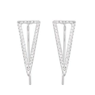 La Preciosa Sterling Silver Cubic Zirconia Triangle Ear Climber Earrings