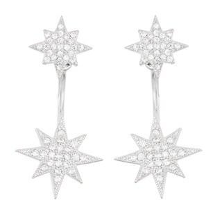 La Preciosa Sterling Silver Cubic Zirconia Starburst Ear Cuff Earrings
