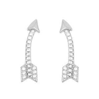 La Preciosa Sterling Silver Cubic Zirconia Curved Arrow Ear Climber Earrings