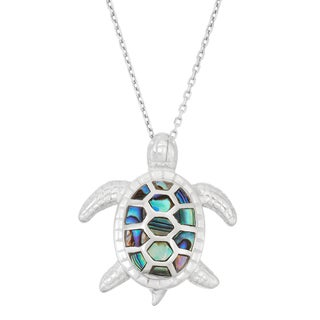 La Preciosa Sterling Silver Abalone Turtle Necklace