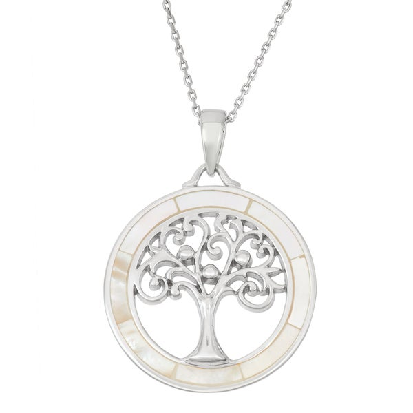 La Preciosa Sterling Silver Mother of Pearl Tree of Life Circle Necklace. Opens flyout.
