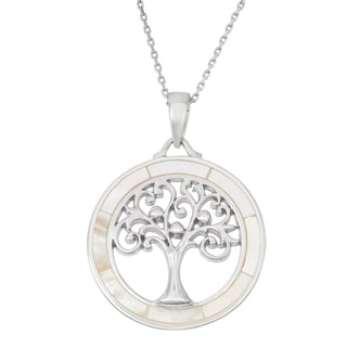 La Preciosa Sterling Silver Mother of Pearl Tree of Life Circle Necklace