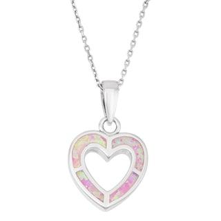 La Preciosa Sterling Silver Pink Opal Heart Necklace