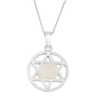 La Preciosa Sterling Silver Mother of Pearl Star of David Circle Pendant
