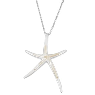 La Preciosa Sterling Silver Mother of Pearl Starfish Pendant