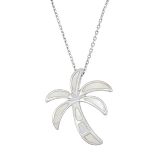 La Preciosa Sterling Silver Mother of Pearl Palm Tree Necklace