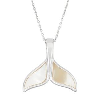 La Preciosa Sterling Silver Mother of Pearl Whale Tail Pendant