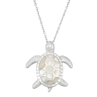 La Preciosa Sterling Silver Mother of Pearl Turtle Necklace