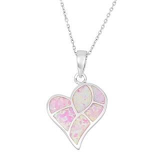 La Preciosa Sterling Silver Opal Heart Necklace