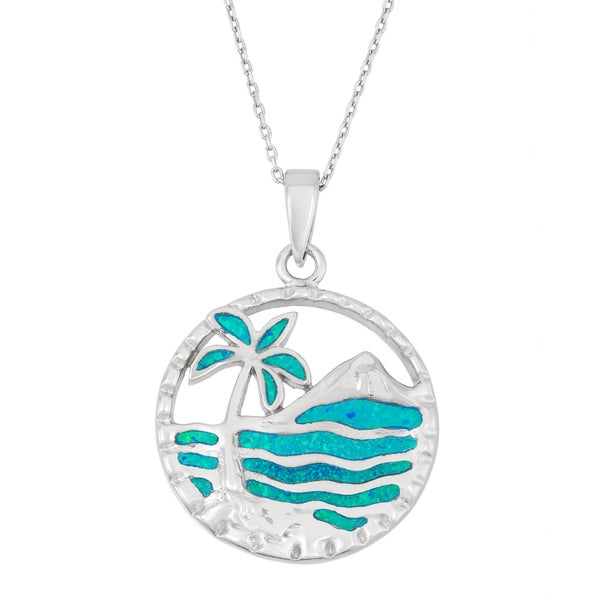 La Preciosa Sterling Silver Blue Opal Palm Tree and Ocean Circle Necklace
