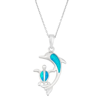 La Preciosa Sterling Silver Blue Opal Dolphin and Turtle Necklace