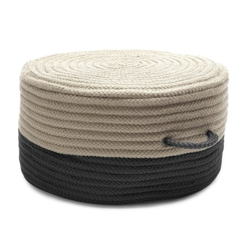 Two-tone Textured Round Pouf Ottoman with Handle