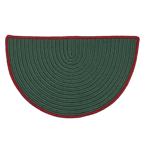 """Reversible Green Hearth Rug Slice with Red Accent (1'6 x 2'6) - 1'6"""" x 2'6"""" - 1'6"""" x 2'6"""""""