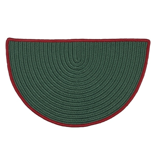 """Reversible Green Hearth Rug Slice with Red Accent - 1'6"""" x 2'6"""""""