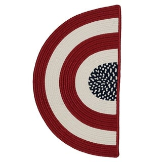 Indoor/ Outdoor Patriotic Red/ White/ Blue Reversible Rug Slice (1'6 x 2'6) - 1'6 x 2'6