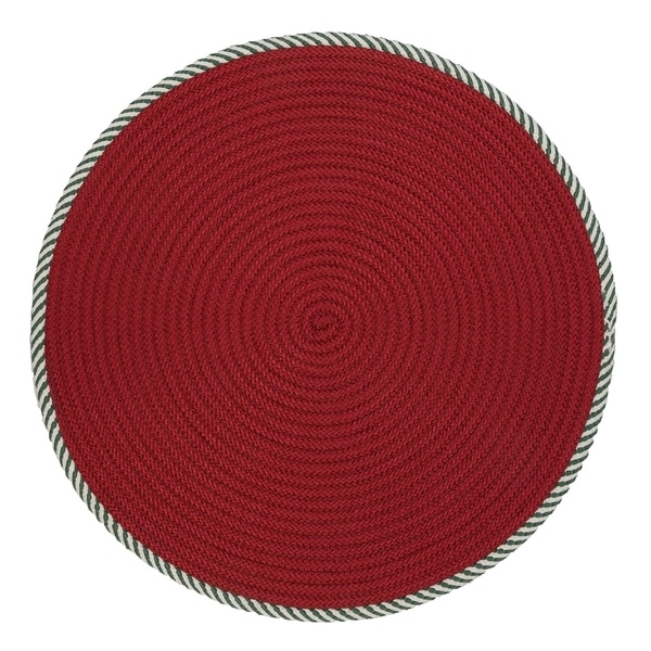 Twisted Round Red Christmas Rug 3 X 3 3 X 3 Free