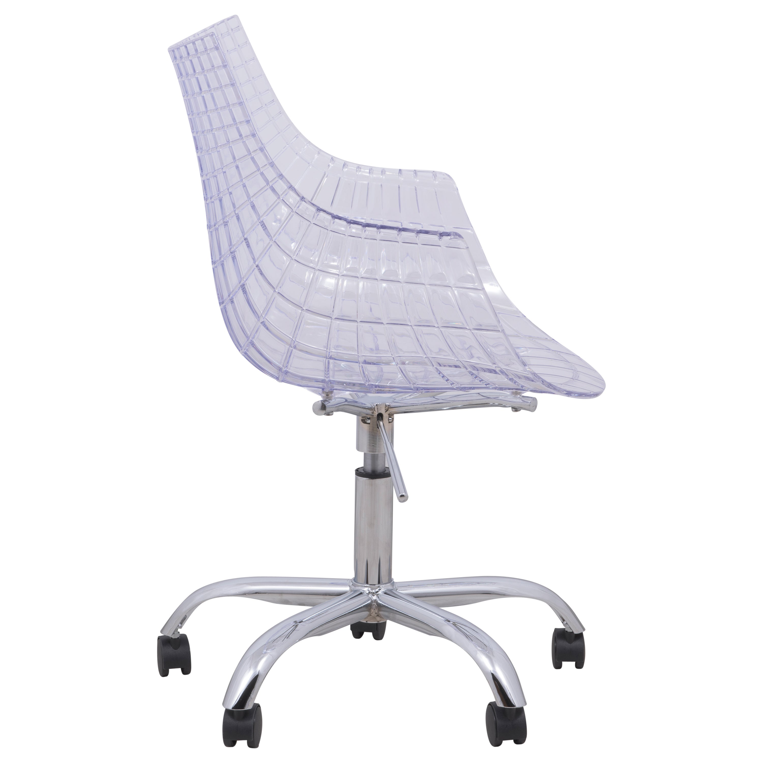 Astounding Leisuremod Ashville Clear Swivel Arm Accent Office Chair With Chromed Legs W Wheels Evergreenethics Interior Chair Design Evergreenethicsorg