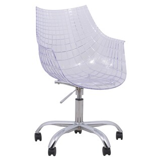 LeisureMod Ashville Clear Swivel Arm Chair