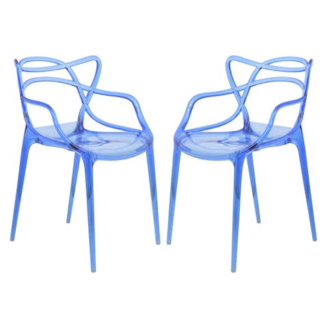 LeisureMod Milan Blue intertwined Design Dining Side Chair Set of 2