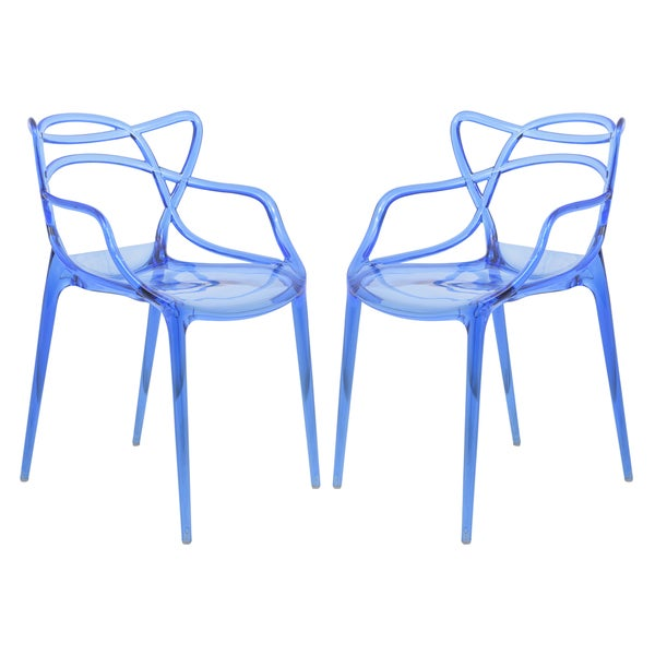LeisureMod Milan Blue intertwined Design Dining Side Chair Set of 2. Opens flyout.